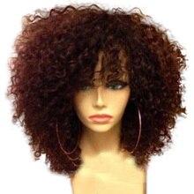 LUFFYHAIR kręcone koronkowa peruka na przód z grzywką brazylijski Remy ludzki włos krótki 13x6 koronkowa peruka na przód peruki z dziecięcymi włosami naturalną linią włosów