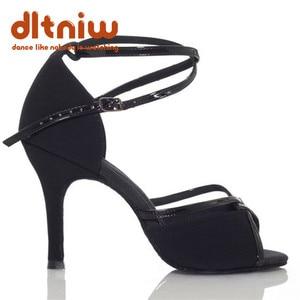 Image 3 - 2020 אישה שחור טאן ריקודים סלוניים נעלי נשים רחב רוחב Custom עקבים סלסה הלטינית נשים של נעלי ריקוד לטיני