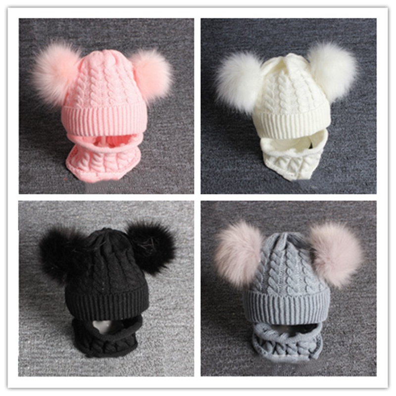 1pcs Children Kids Baby Beanie Hat Cap Boys Girls Warm Winter Imitation Fur Wrap Double Ball Knitting Scarf Set QDD9861