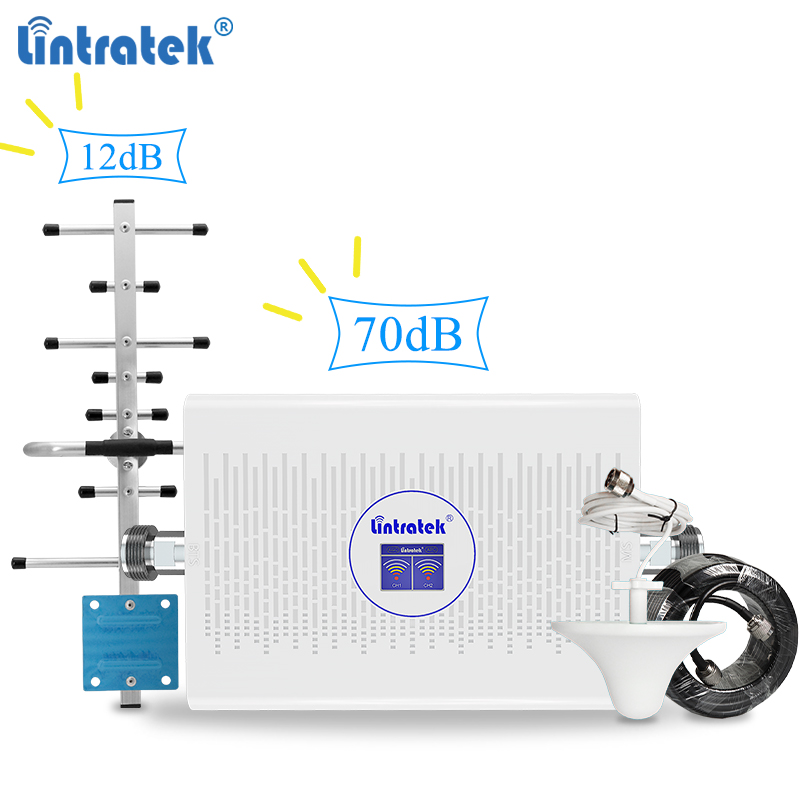 Lintratek 70dB + 12dB 2G 3G Signal Booster 900 2100MHz Repeater AGC Internet Booster 3G 2100 UMTS Band 1 GSM 900 Amplifier