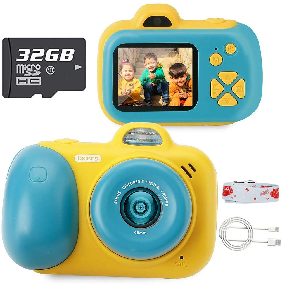 Beiens Kids Camera Toys 24MP Selfie Digital Photo Camera Children Educational Toy 12 Languages 32G Supported Birthday Gifts