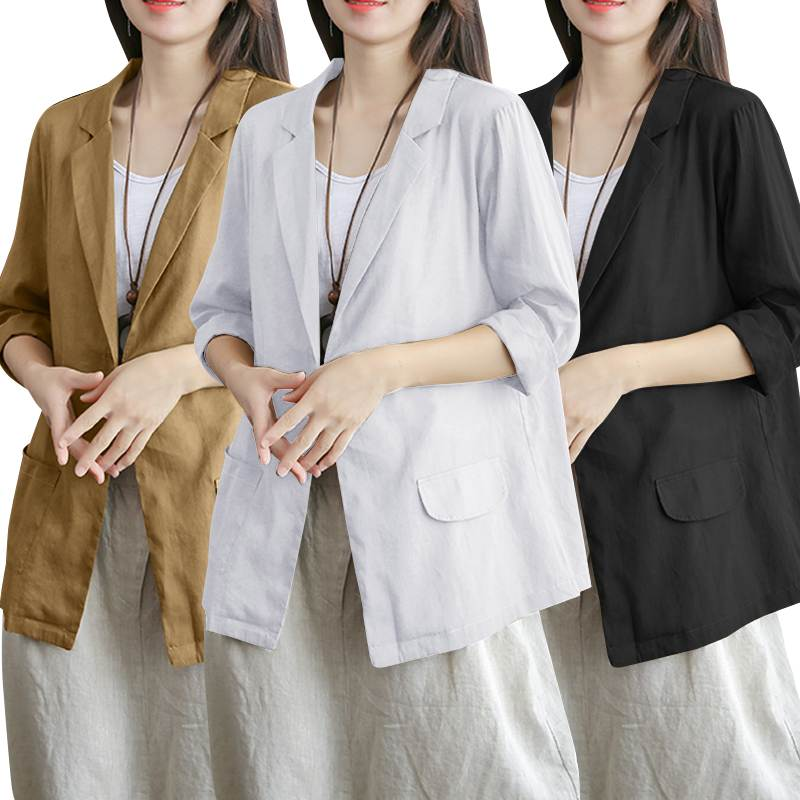 Plus Size Cotton Tops Women's Blazers ZANZEA 2020 Fashion Single-button Coats Fashion 3/4 Sleeve Outwaer Female Jackets S-5XL