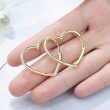 Женские серьги кольца с большим сердцем золотые в Корейском