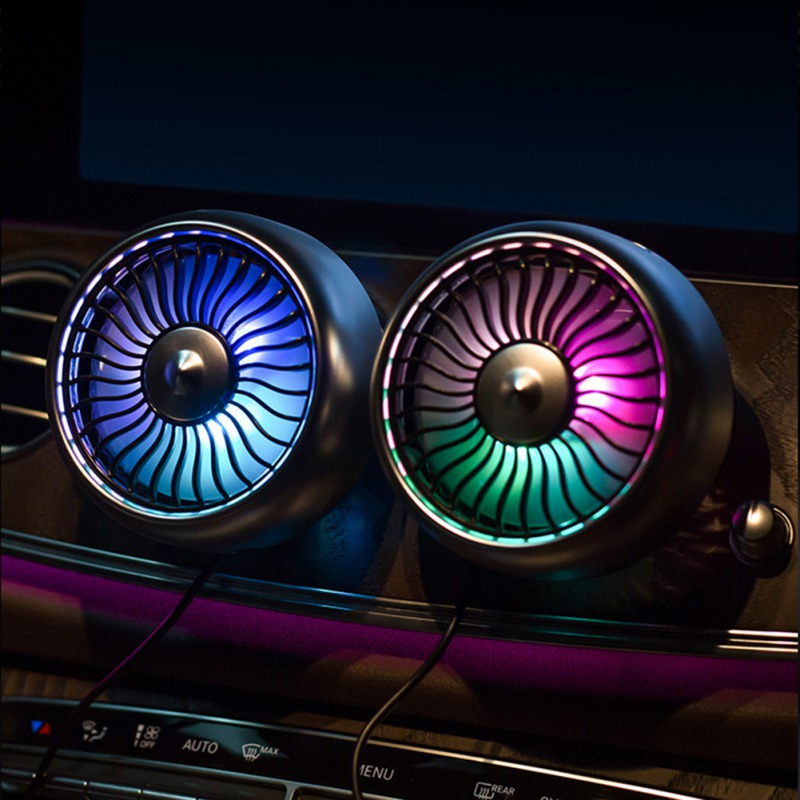 2020 12V/24V ABS Multifunctional USB Car Fan With Colorful Light Three Speed Control Anti-Noise Car Fan Desk Fans