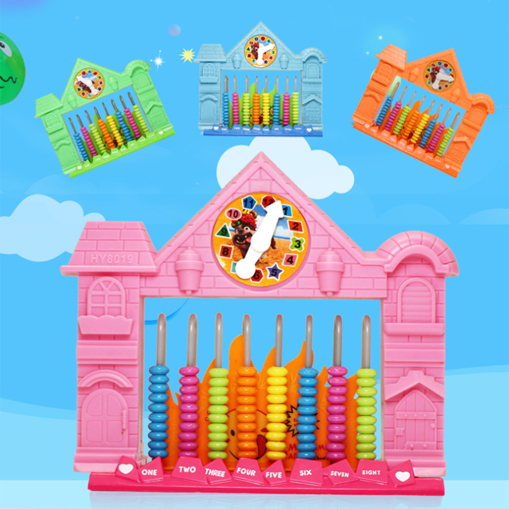 Abacus Arithmetic Kids Maths Calculating Tools Chinese Abacus Move The Beads Toys House Shape With Clock Educational Toy Random
