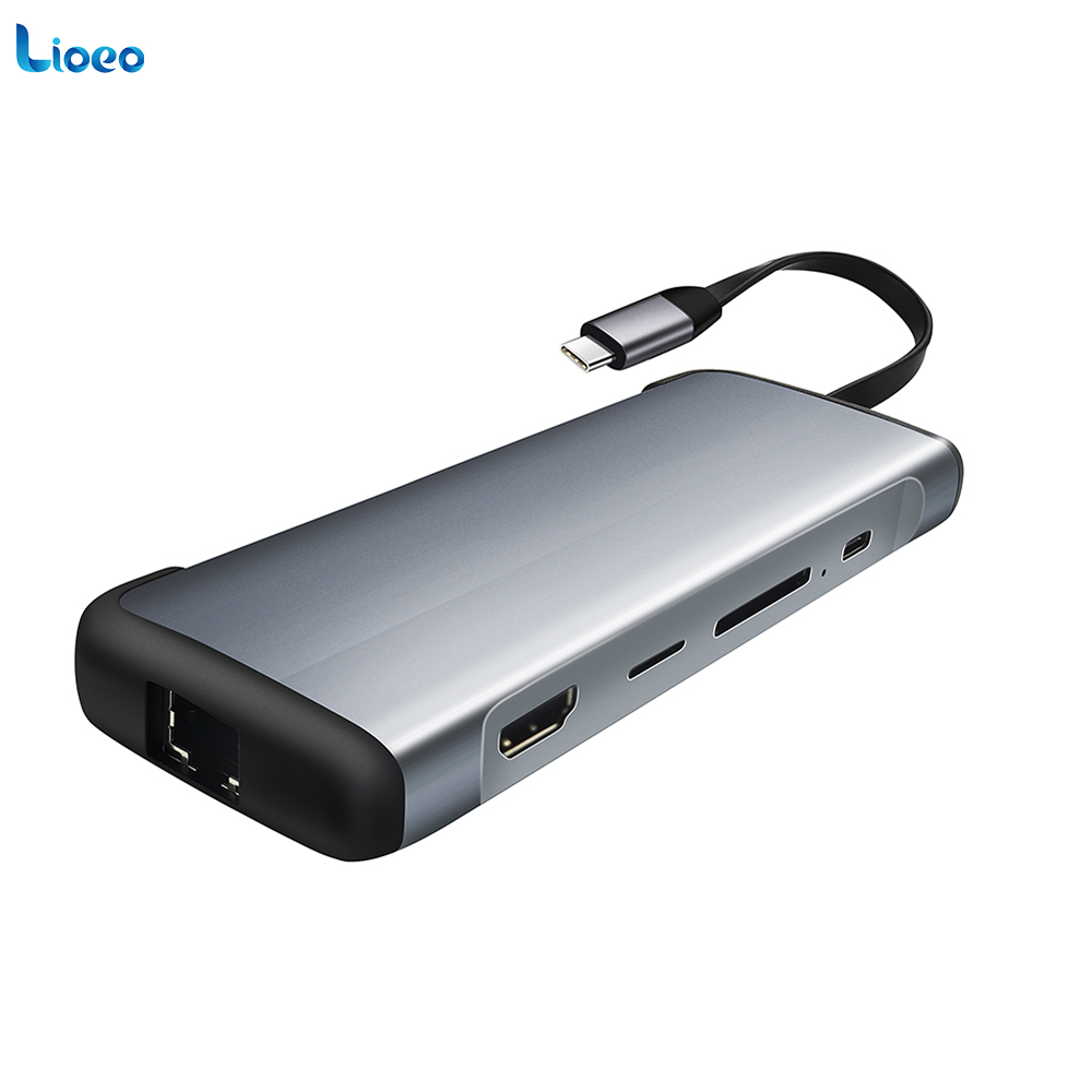 LIOEO Laptop Docking Station 9-in-1 USB C Converter Thunderbolt 3 Adapter For Macbook to HDMI PD RJ45 Ethernet USB3.0 Dock