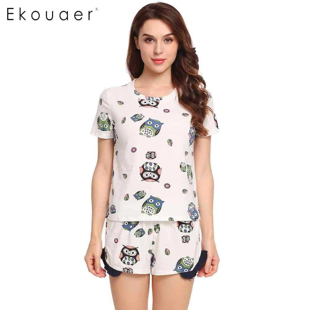 Ekouaer Mùa Hè Pyjama Đồ Ngủ Bộ Nữ Váy Ngủ Áo Thun Nữ Tay Ngắn In Hình Nightshirt Xù PJ Ngắn Bộ Đồ Ngủ Bộ Nhà Quần Áo