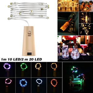 20 LED String Lights 1M 2M Silver Wire Garland Bottle Stopper Fairy Garland For Outdoor Christmas Party Wedding New Year Decor
