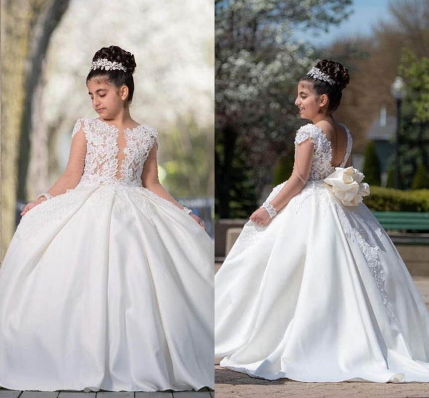 Princess Flower Girl Dresses For Weddings Lace Applique Sheer Long Sleeves Ball Gown Puffy Backless Girls Birthday Dress