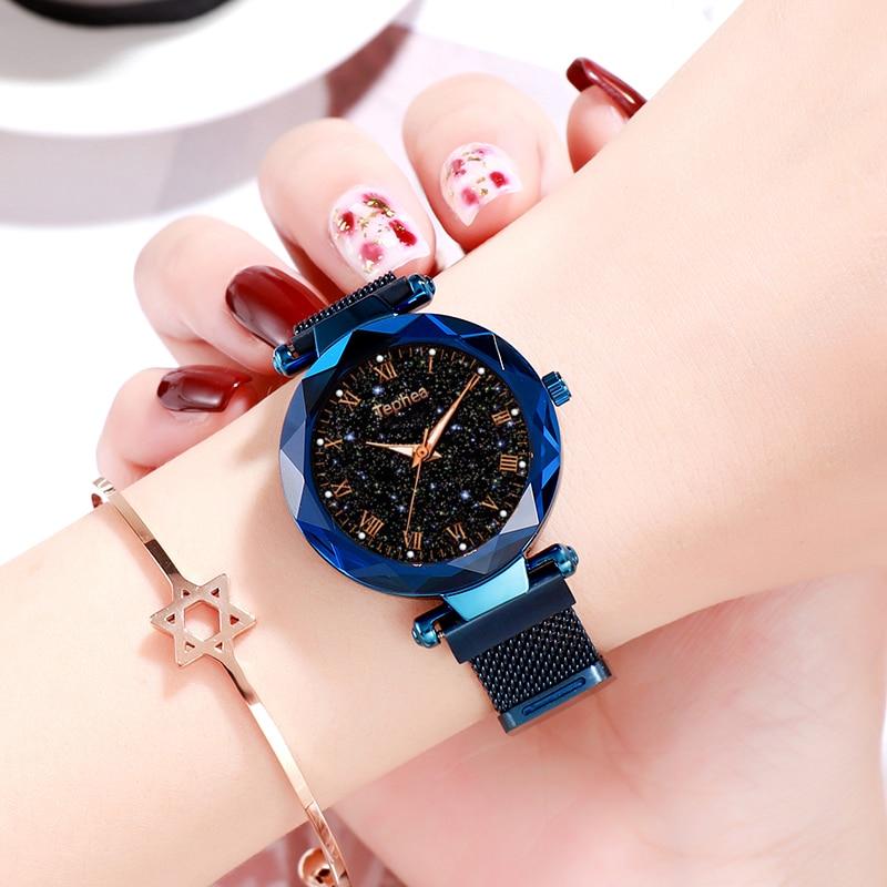 2019 panie zegarek na rękę Starry Sky magnetyczne kobiety oglądać Luminous luksusowe wodoodporna kobiet zegarek dla relogio feminino Reloj Mujer 5