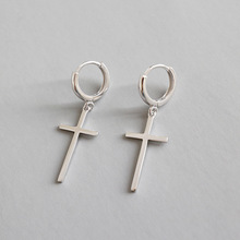 Popular Korean S925 sterling silver simple fashion personality smooth cross long pendant earrings brincos