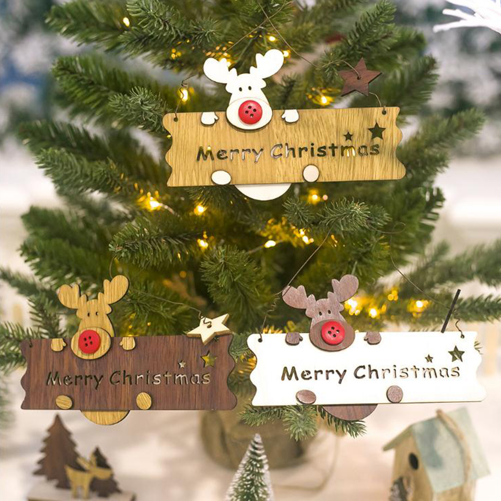 1 PCS Christmas Wooden  Elk Letter listing Christmas Tree Closet Pendant Christmas Home Decoration  House Number