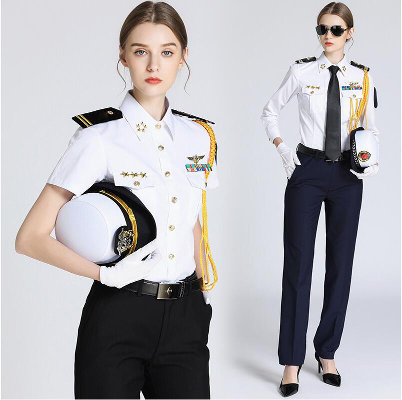 Female Captain Uniform Pilot Shirt Seawoman's Shirt Short Long Sleeve Show Jacket Seaman's Security Uniform Shirt + Accessories