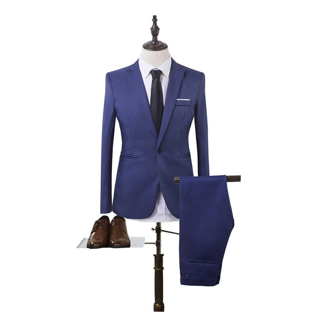 2020 2 Stuks Business Blazer + Broek Pak Sets Mannen Herfst Mode Solid Slim Bruiloft Set Vintage Klassieke Blazer