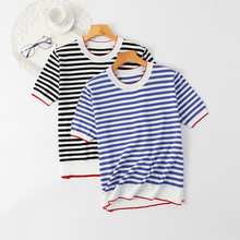 Summer Striped Knitted Oversized T-shirt Women's Clothes Short Sleeved Tee Ice Silk Sea Soul Black Pullover T Shirt Tops y2k