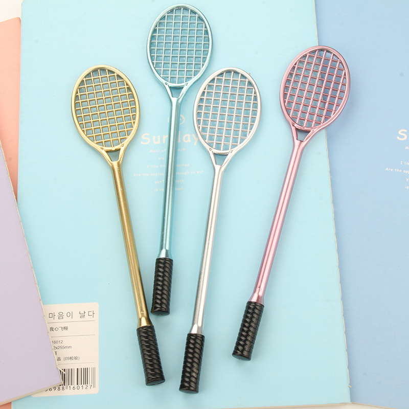 1pcs 0.5mm Cute Pens Tennis Racket Gel Pen Black 0.5mm Badminton Racket Gel Pen Kawaii Korean Stationery For School Office