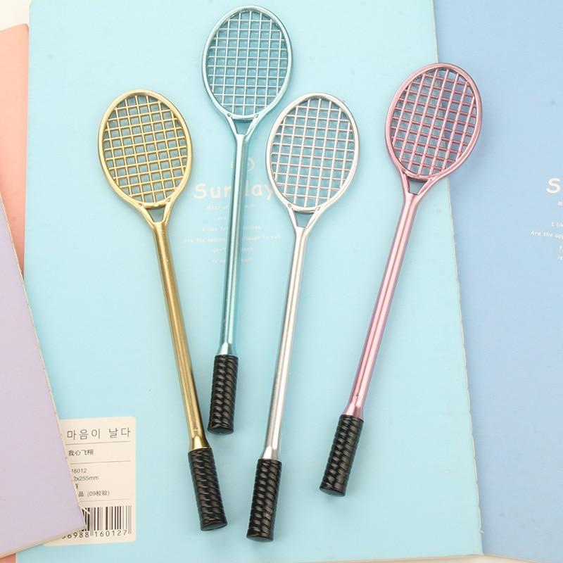 1pcs 0.5mm Cute Pens Tennis Racket Gel Pen Black 0.5mm Badminton Racket Gel Pen Kawaii Korean Stationery For School Office