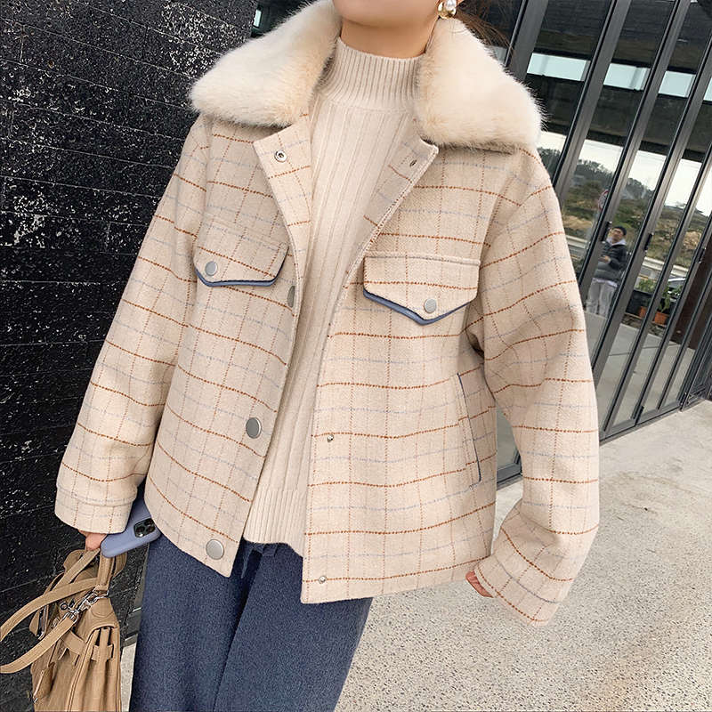 MISHOW Atumn Winter Fashion Apricot Plaid Woolen Coat Women Causal Lambswool Lapel Single-breasted Coat Tops  MX19D9585