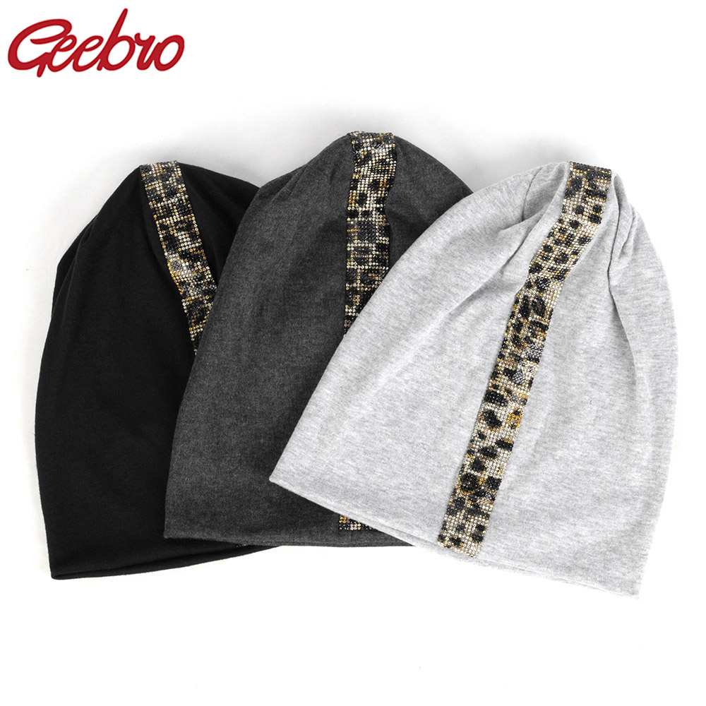 Geebro New Women's Leopard Rhinestones Stretch   Beanies   Unisex Cotton Casual For Girls Man Spring Bonnets   Skullies   Hat Caps DT908
