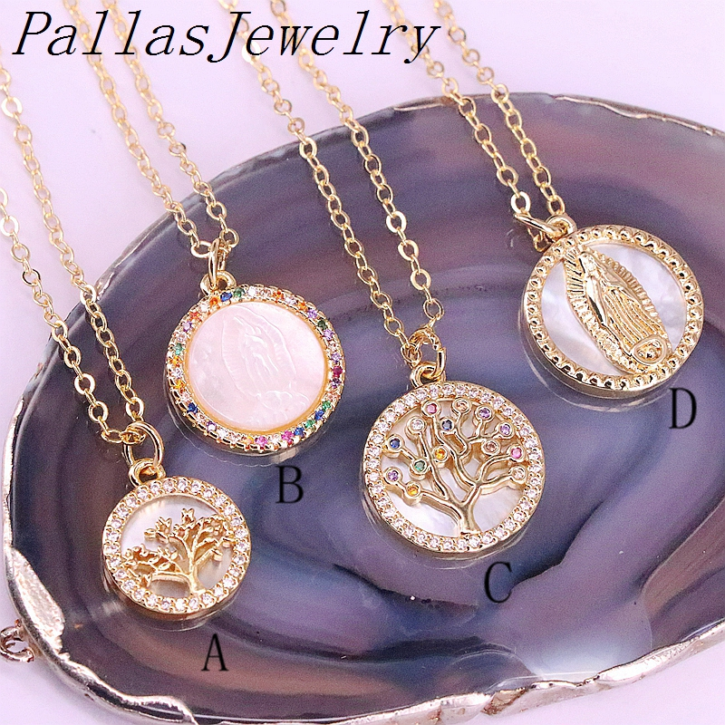 10Pcs Clear/Rainbow CZ Micro Pave Virgin Of Mary Charm Shell Pendant Necklace, Round Shaped Religious/Tree Charms