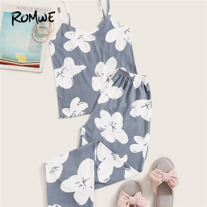 ROMWE Floral Print Cami Pajamas For Women Sleeveless Top With Pants Sleepwear Casual Ladies Pajama Set Summer Fall 2019 Pj Set