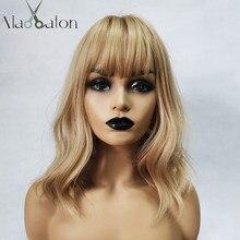 Парики Алана еатона среднего размера для косплея Бобо, светлые с челкой, Женские синтетические волосы, волнистые, милые, для косплея Лолиты, повседневные накладные волосы для женщин