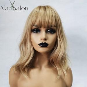 Image 1 - ALAN EATON Medium Bobo Cosplay Blonde Wigs with Bangs Woman Synthetic Hair Wigs Wavy Cute Lolita Cosplay Female Daily False Hair