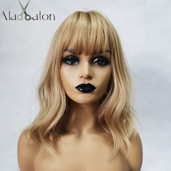 ALAN EATON Medium Bobo Cosplay Blonde Wigs with Bangs Woman Synthetic Hair Wavy Cute Lolita Female Daily False - discount item  23% OFF Synthetic Hair