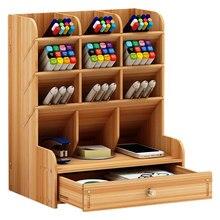 Multi-function Wooden Desktop Pen Holder Office School Storage Case Desk Pen Pencil Organizer цена 2017