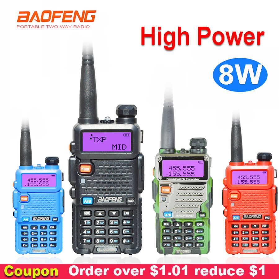 8W Baofeng UV-5R Walkie Talkie Two Way Communicator Transceiver USB 5W VHF UHF Portable Pofung UV 5R Berburu ham Radio Station