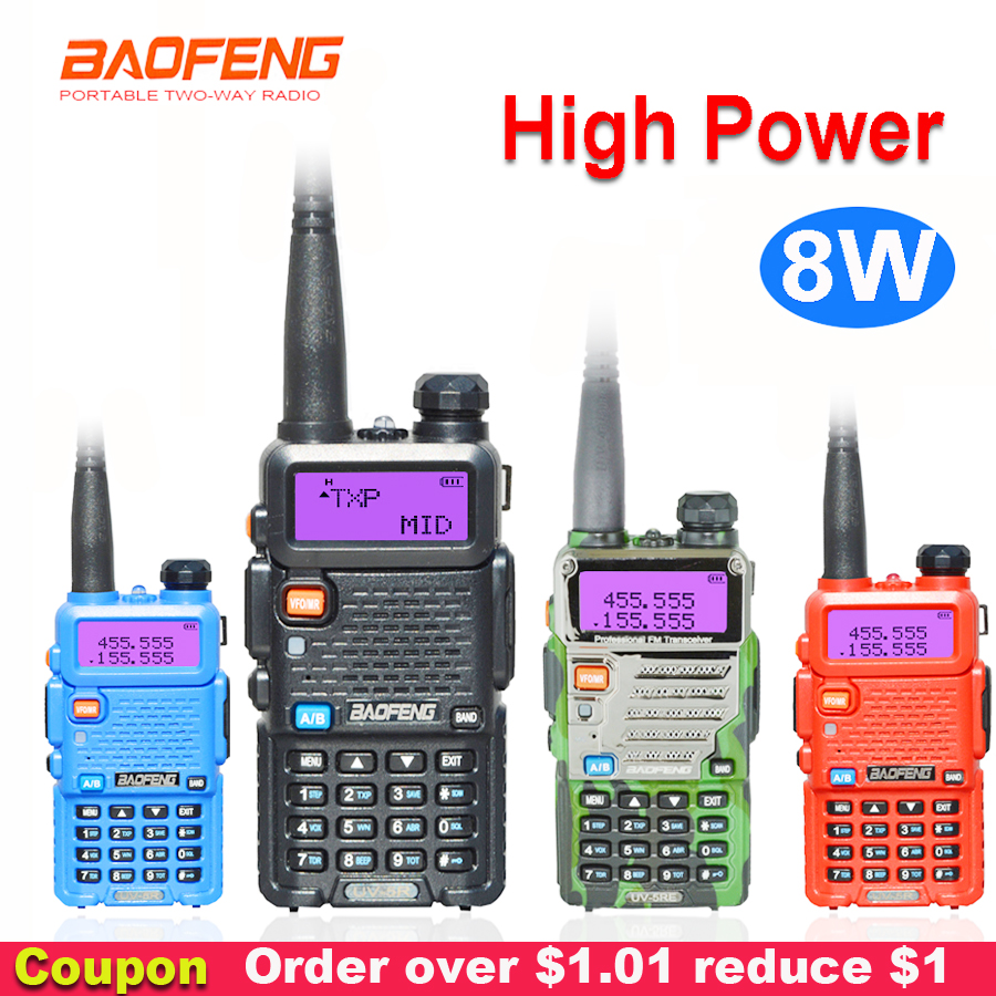 8W Baofeng UV-5R Walkie Talkie two way communicator Transceiver USB 5W VHF UHF Portable pofung UV 5R Hunting Ham Radio Station(China)