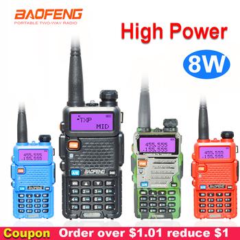 8W Baofeng UV-5R walkie-talkie dwukierunkowy komunikator Transceiver USB 5W VHF UHF przenośny pofung UV 5R polowanie Ham stacja radiowa tanie i dobre opinie 1800mah IP45 Przenośne 5 km-10 km 5 w-10 w baofeng uv5r walkie-talkie 136-174MHZ 400-520MHZ 10*5*3 8cm 128 channels Z tworzywa sztucznego