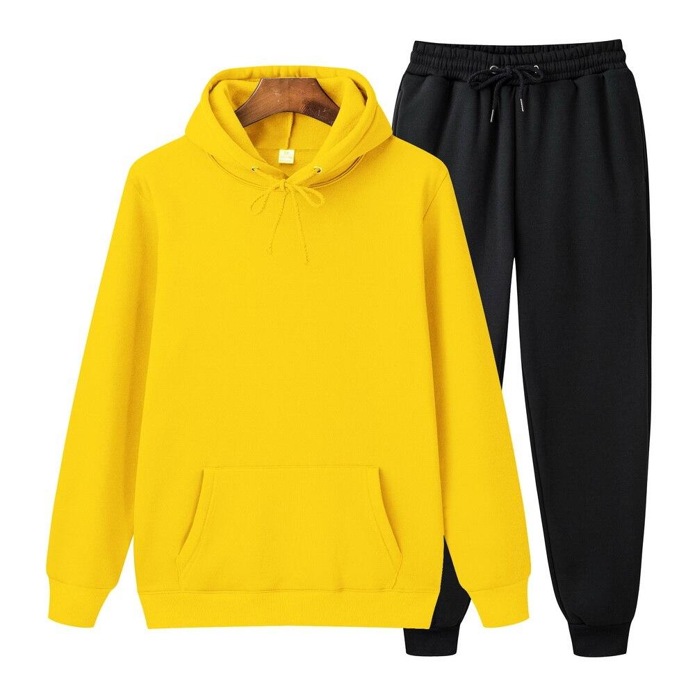 Brand Hoodie Suit Winter Tracksuit Suits Men Hoodie Pullover Fleece Jogger Elastic Sweatshirt Suit Mens Fashion Black Yellow