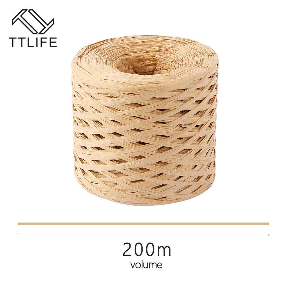 200 mètres raphia papier ruban artisanat papier d'emballage naturel chanvre corde cadeau emballage ruban pâques fête mariage décoration