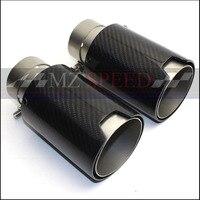 1 pces 63mm 66mm 70mm in-95mm para fora m-desempenho escape tubo de escape do carro de fibra de carbono pontas de extremidade de escape para bmw m3 m5 m6