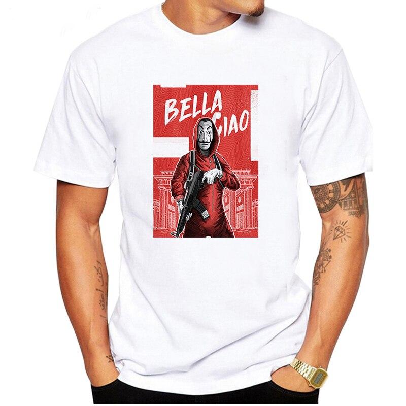 LUSLOS 2019 La casa de papel camiseta divertida dinero golpe impreso camisetas hombres casa de papel camiseta Casual Suelto ropa de hombre