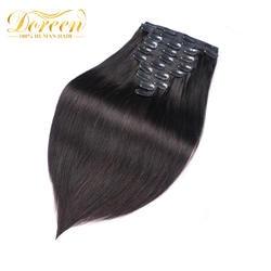 Doreen 160 г 200 г бразильский парик сделал Remy прямой зажим в человеческих волос для наращивания #1 # 1B #2 #4 #8 полный набор головы 10 шт 16-22