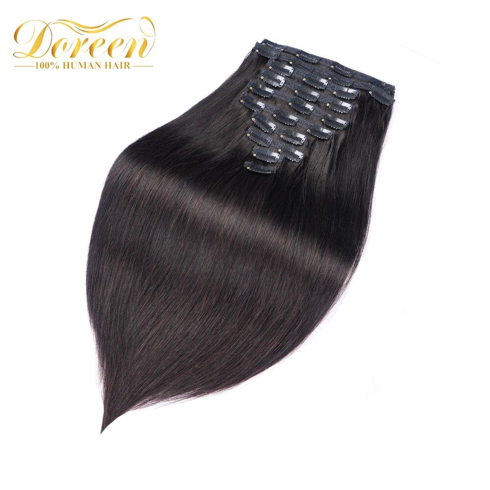 A máquina brasileira de doreen 160g 200g fez o grampo reto de remy em extensões do cabelo humano #1 # 1b #2 #4 #8 conjunto completo da cabeça 10 pces 16-22