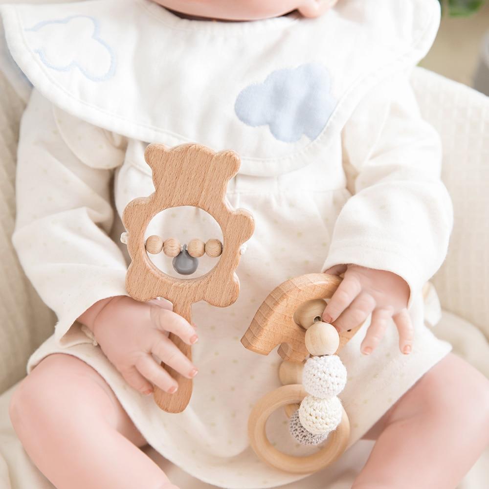 Baby Wooden Teether Toys Rattle Nursing Bracelet animal bear Musical Rattle newborn Montessori educational Stroller Toy Play Gym