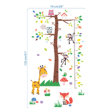 Monkey Giraffe Owls Squirrel Tree Wall Stickers Kids Room Height Measure Decal Art Home Decor Poster Growth Chart Mural