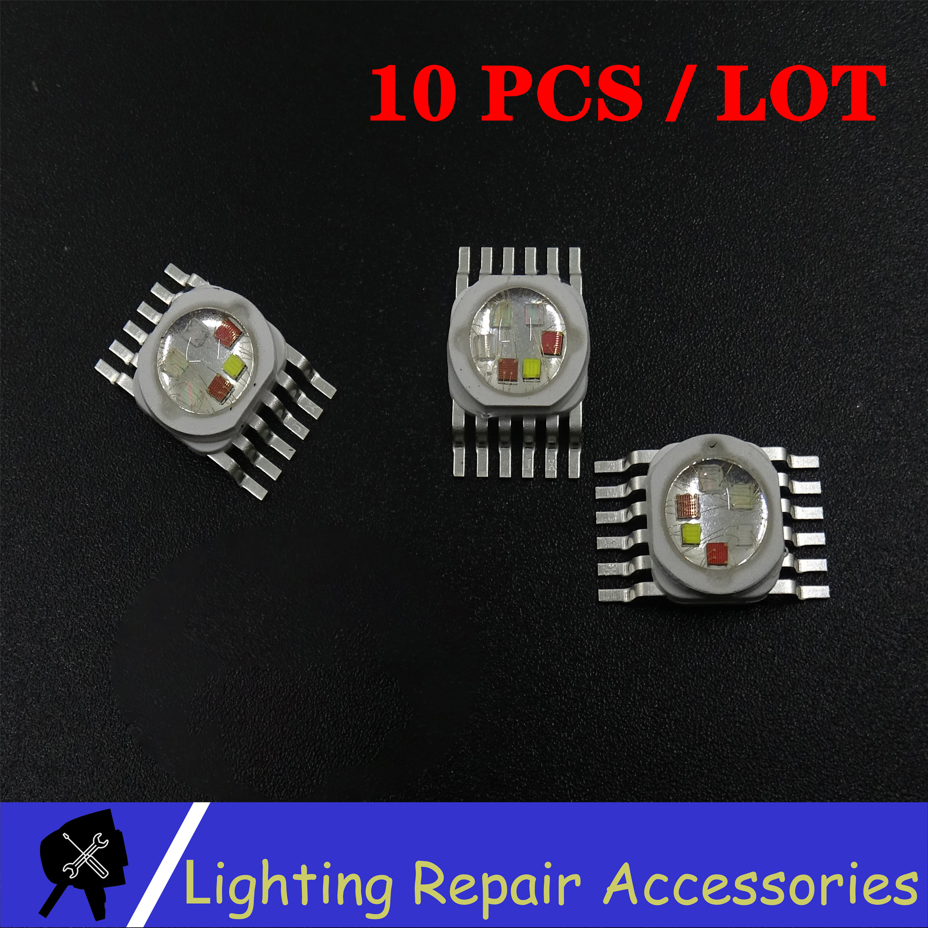 10 Pcs/pack 6W 12w 18w RGBWA UV 6 In 1 LED Bead Lamp Source Led Chip LED Lamp Bead Led Light For  Led Stage Lighting
