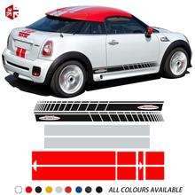 For MINI Coupe R58 Cooper S JCW Accessories Car Hood Bonnet Engine Cover Trunk Rear Body Kit Decal Side Stripes Skirt Sticker car hood tail sticker bonnet stripes engine cover trunk decal for mini jcw f56 john cooper works accessories car styling