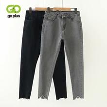 Женские джинсы в Корейском стиле GOPLUS, серые и черные узкие джинсы с высокой талией, большие размеры, C9561
