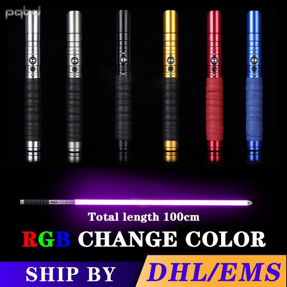pqbd Lightsaber RGB Metal Handle Heavy Dueling Color Change Volume Adjustment Force Soundfons FOC Blaster LED Light Cosplay Gift