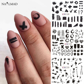 цена на 12pc Geometric Nail Sliders Water Sticker Set Nail Art Transfer Decals Mixed Design Manicure Decoration