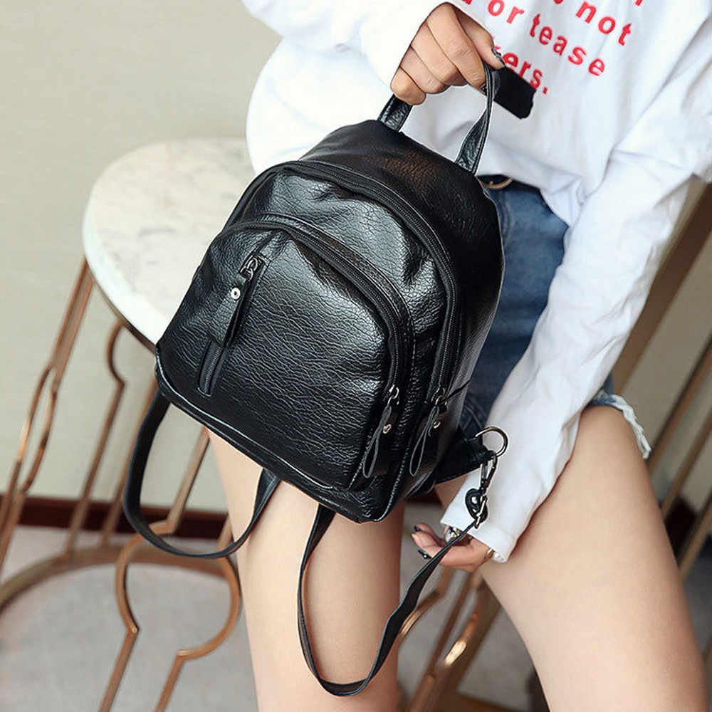 Black Small Backpack for Women Girl Multifunction Zipper Shoulder Bookbag Useful School Bag Cute Fashion Backpack mochila menina