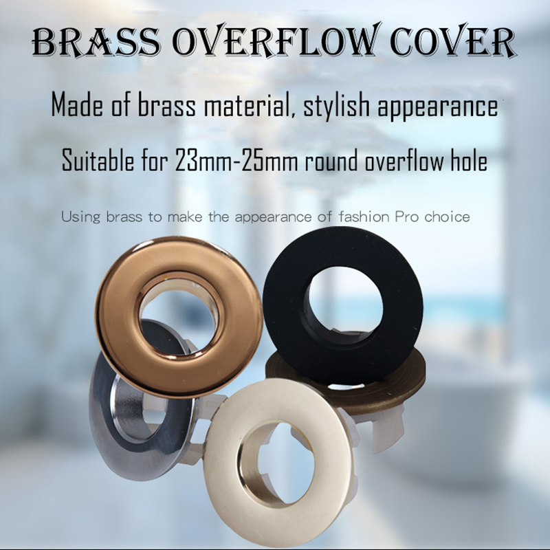 Quality Brass Made Basin Hole Trim Sink Overflow Cover  Insert