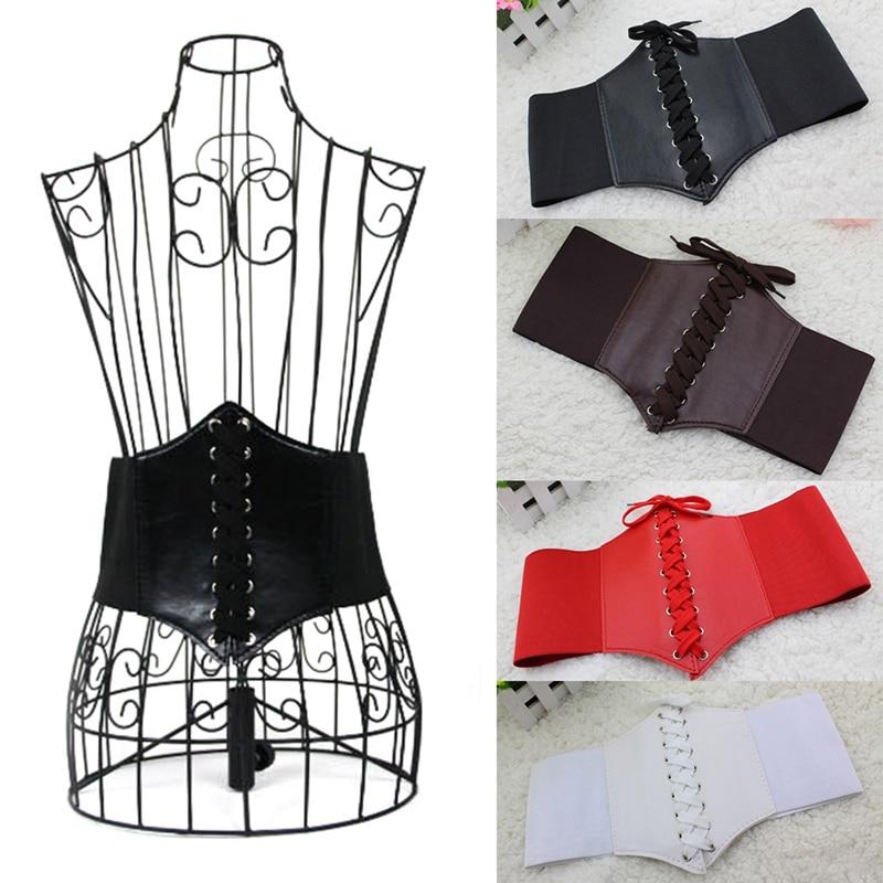 Women Belt Female Cummerbund Plus Wide Belt Faux Leather Elastic Corset Front Tie Up Waist Belt Girl Clothes Dress Decoration