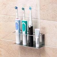 Stainless Steel Toothpaste Electric Toothbrush Holder Shelf Wall Storage Rack Toothbrush Stand Rack Dispense Bathroom Sets|Storage Shelves & Racks| |  -