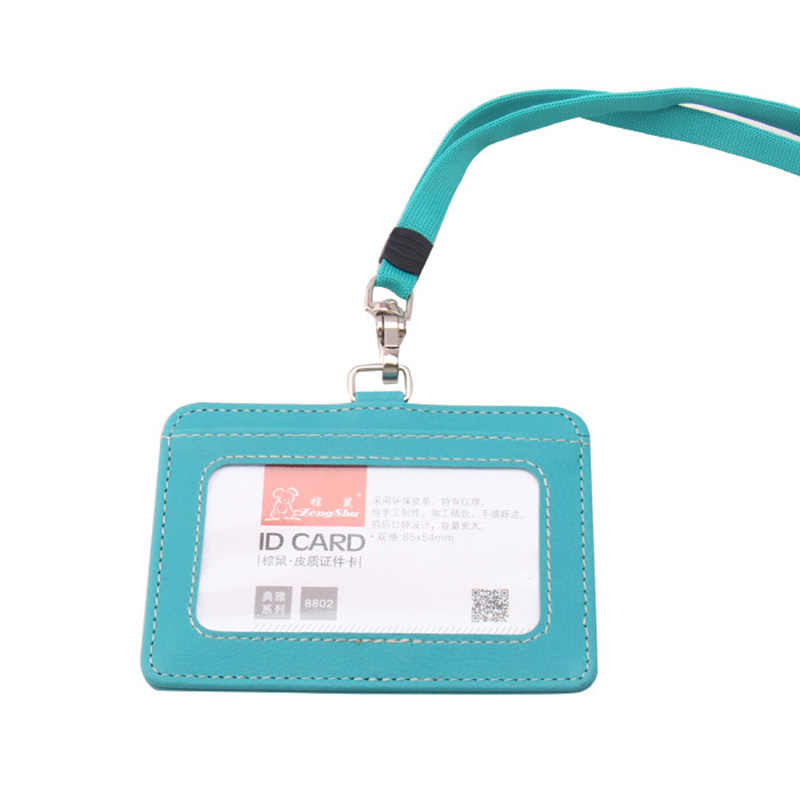 1PC PU leather Work Name Card Holders with rope Business Work Card ID Badge Lanyard Holder Vertical ID Business Case